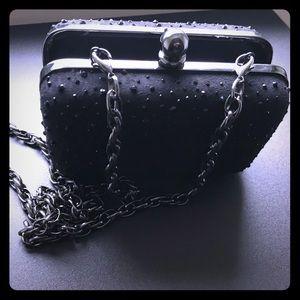 Beautiful WHBM black hard clutch with chain